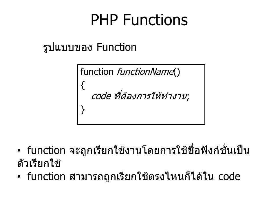 PHP Functions function functionName() { code ที่ต้องการให้ทำงาน; } รูปแบบของ Function function จะถูกเรียกใช้งานโดยการใช้ชื่อฟังก์ชั่นเป็น ตัวเรียกใช้