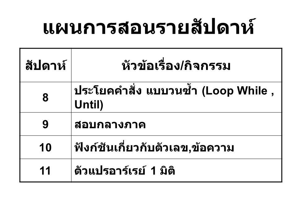 แผนการสอนรายสัปดาห์ สัปดาห์หัวข้อเรื่อง / กิจกรรม 8 ประโยคคำสั่ง แบบวนซ้ำ (Loop While, Until) 9 สอบกลางภาค 10 ฟังก์ชันเกี่ยวกับตัวเลข, ข้อความ 11 ตัวแ