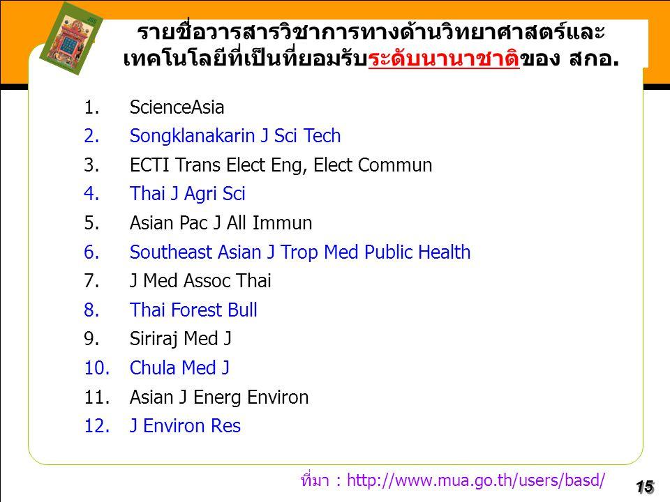 15 รายชื่อวารสารวิชาการทางด้านวิทยาศาสตร์และ เทคโนโลยีที่เป็นที่ยอมรับระดับนานาชาติของ สกอ. 1.ScienceAsia 2.Songklanakarin J Sci Tech 3.ECTI Trans Ele