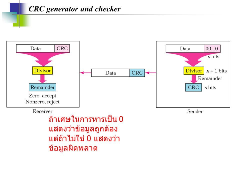 CRC generator and checker ถ้าเศษในการหารเป็น 0 แสดงว่าข้อมูลถูกต้อง แต่ถ้าไม่ใช่ 0 แสดงว่า ข้อมูลผิดพลาด