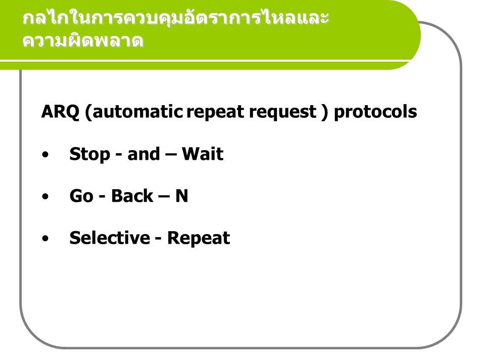 กลไกในการควบคุมอัตราการไหลและความผิดพลาด ARQ (automatic repeat request ) protocols Stop - and – Wait Go - Back – N Selective - Repeat