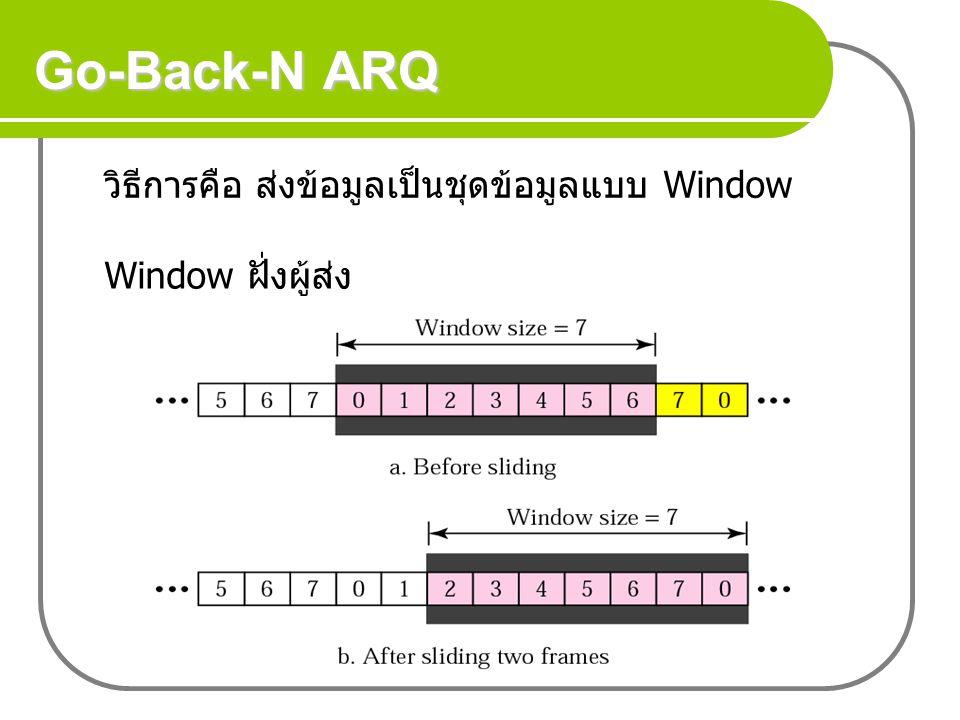 Go-Back-N ARQ วิธีการคือ ส่งข้อมูลเป็นชุดข้อมูลแบบ Window Window ฝั่งผู้ส่ง