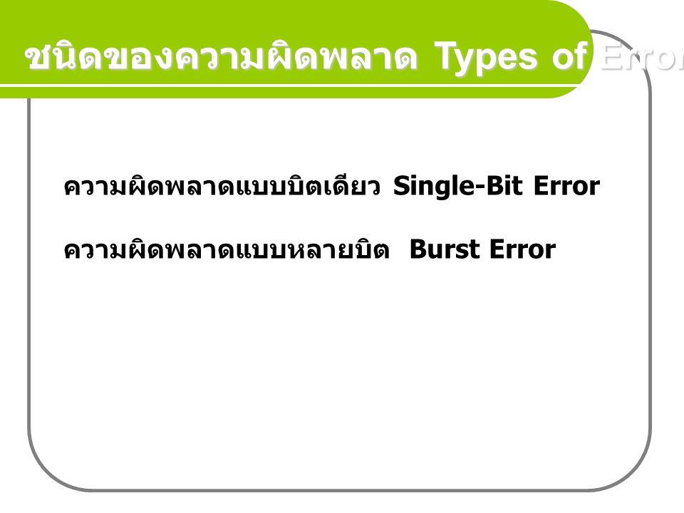 ชนิดของความผิดพลาด Types of Error ความผิดพลาดแบบบิตเดียว Single-Bit Error ความผิดพลาดแบบหลายบิต Burst Error
