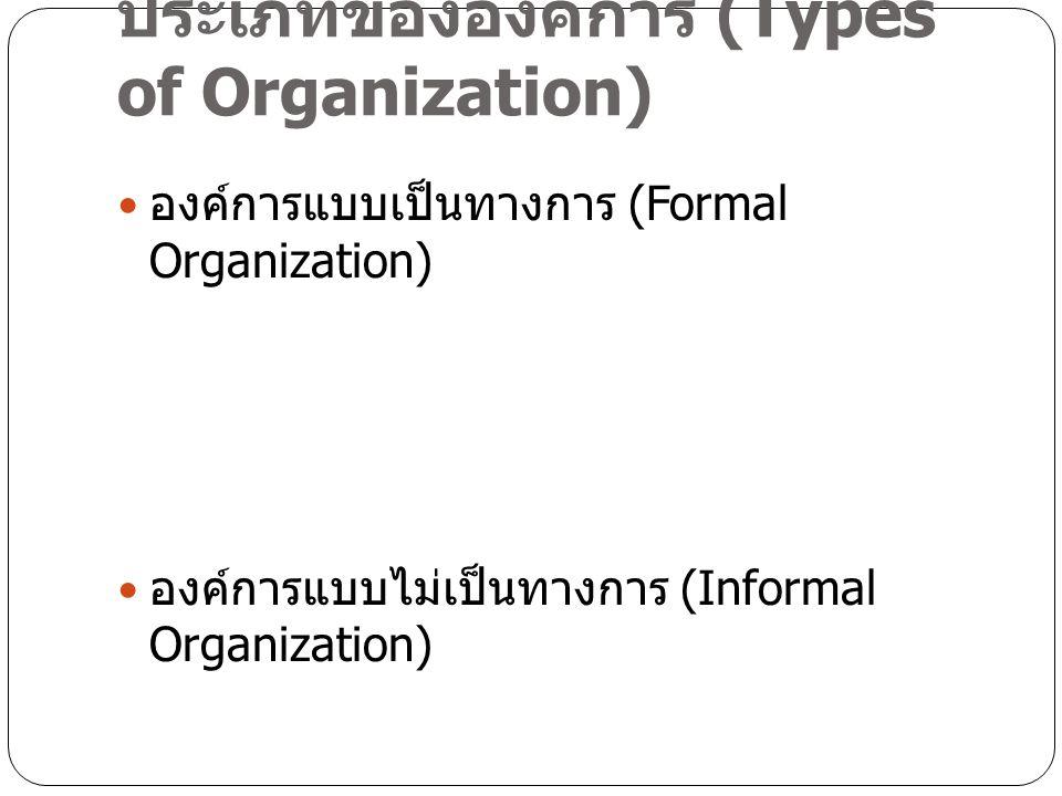 ประเภทขององค์การ (Types of Organization) องค์การแบบเป็นทางการ (Formal Organization) องค์การแบบไม่เป็นทางการ (Informal Organization)