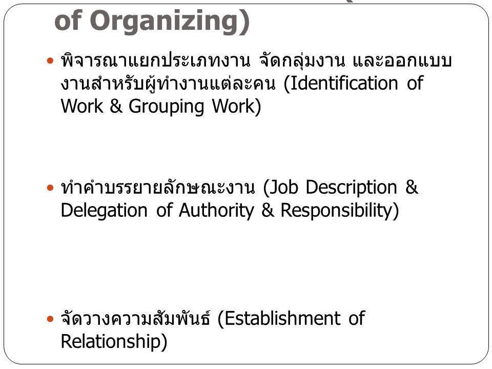กระบวนการจัดองค์การ (Process of Organizing) พิจารณาแยกประเภทงาน จัดกลุ่มงาน และออกแบบ งานสำหรับผู้ทำงานแต่ละคน (Identification of Work & Grouping Work