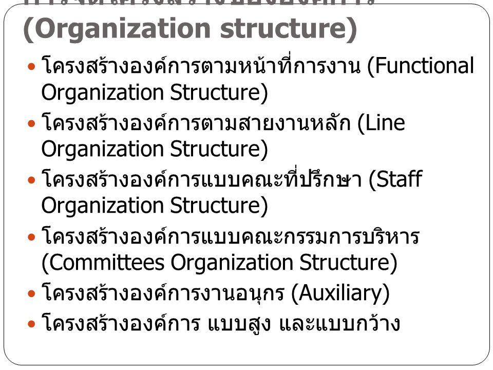 การจัดโครงสร้างขององค์การ (Organization structure) โครงสร้างองค์การตามหน้าที่การงาน (Functional Organization Structure) โครงสร้างองค์การตามสายงานหลัก
