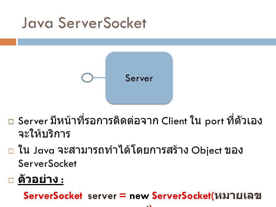 Java ServerSocket Server  Server มีหน้าที่รอการติดต่อจาก Client ใน port ที่ตัวเอง จะให้บริการ  ใน Java จะสามารถทำได้โดยการสร้าง Object ของ ServerSoc