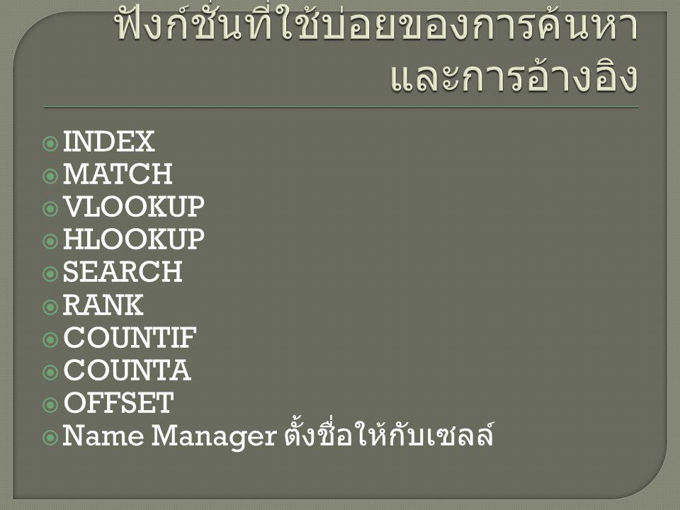  INDEX  MATCH  VLOOKUP  HLOOKUP  SEARCH  RANK  COUNTIF  COUNTA  OFFSET  Name Manager ตั้งชื่อให้กับเซลล์
