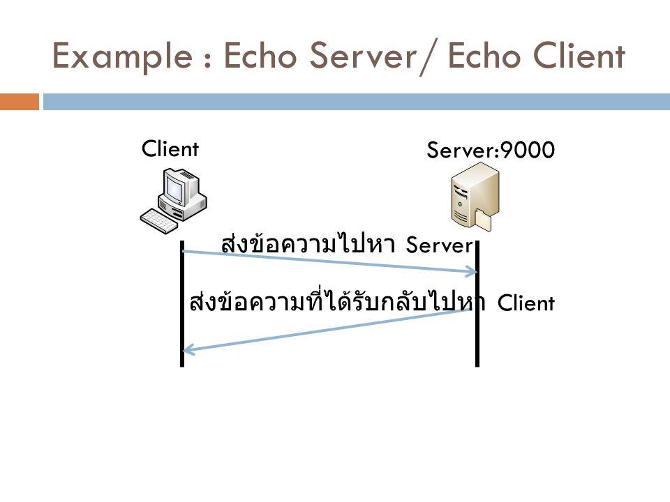 Example : Echo Server/ Echo Client Client Server:9000 ส่งข้อความไปหา Server ส่งข้อความที่ได้รับกลับไปหา Client