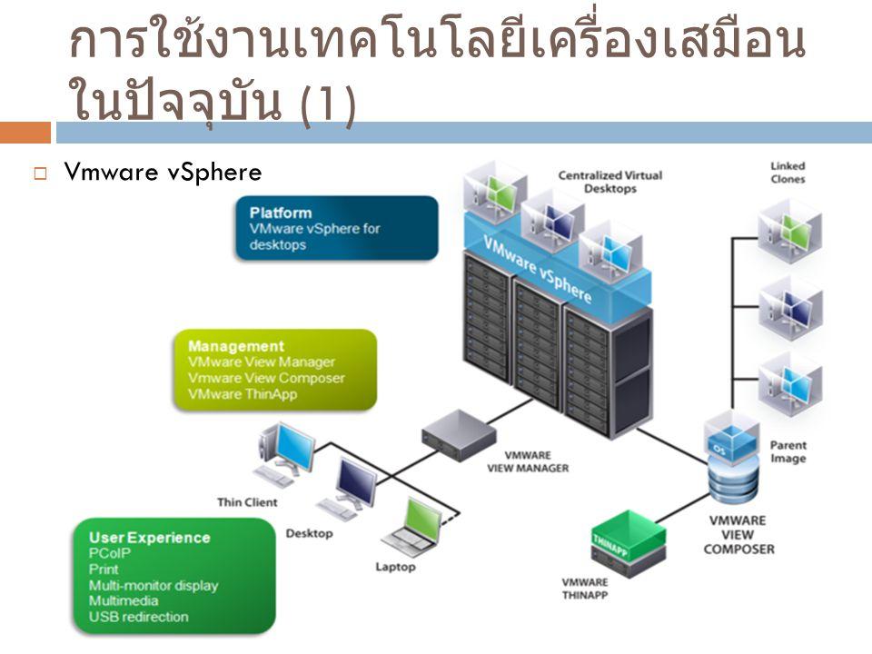 การใช้งานเทคโนโลยีเครื่องเสมือน ในปัจจุบัน (1)  Vmware vSphere