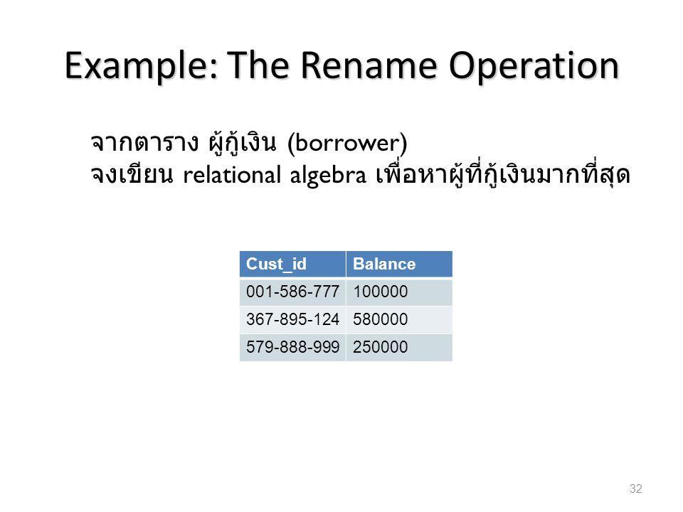 Example: The Rename Operation Cust_idBalance 001-586-777100000 367-895-124580000 579-888-999250000 จากตาราง ผู้กู้เงิน (borrower) จงเขียน relational a