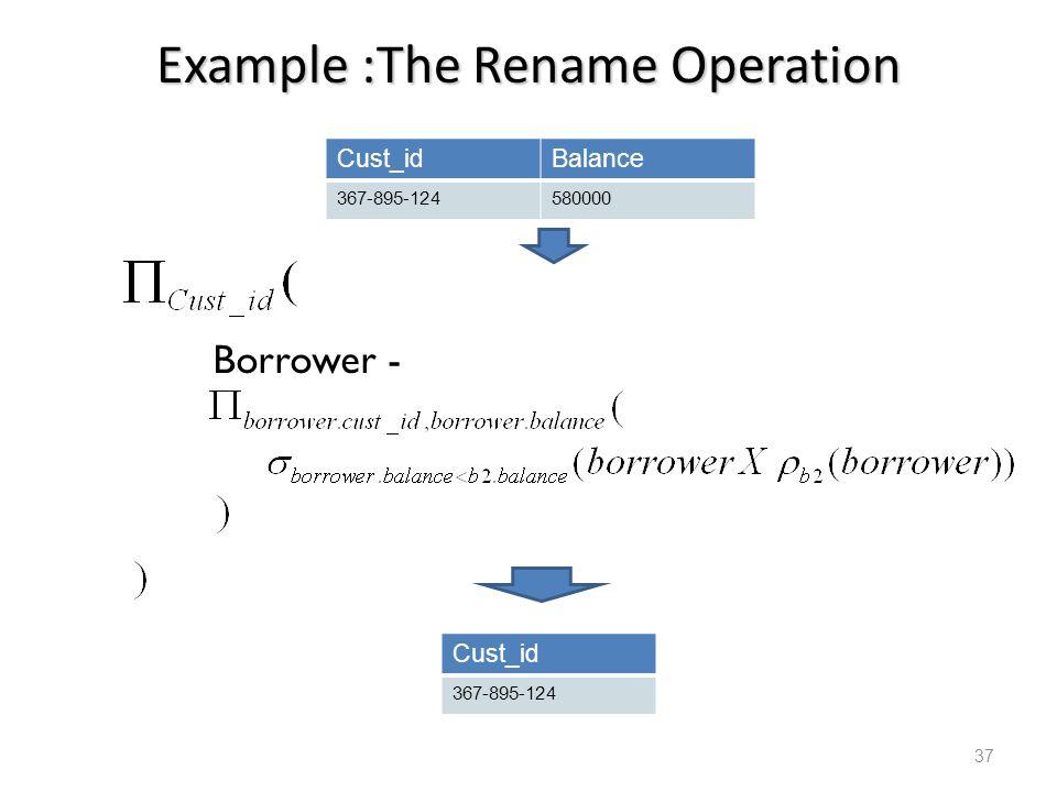 Example :The Rename Operation Cust_idBalance 367-895-124580000 Borrower - Cust_id 367-895-124 37