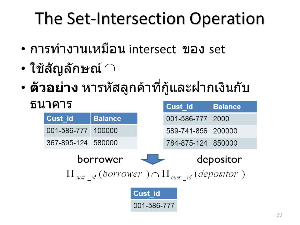 The Set-Intersection Operation การทำงานเหมือน intersect ของ set ใช้สัญลักษณ์ ตัวอย่าง หารหัสลูกค้าที่กู้และฝากเงินกับ ธนาคาร Cust_idBalance 001-586-77