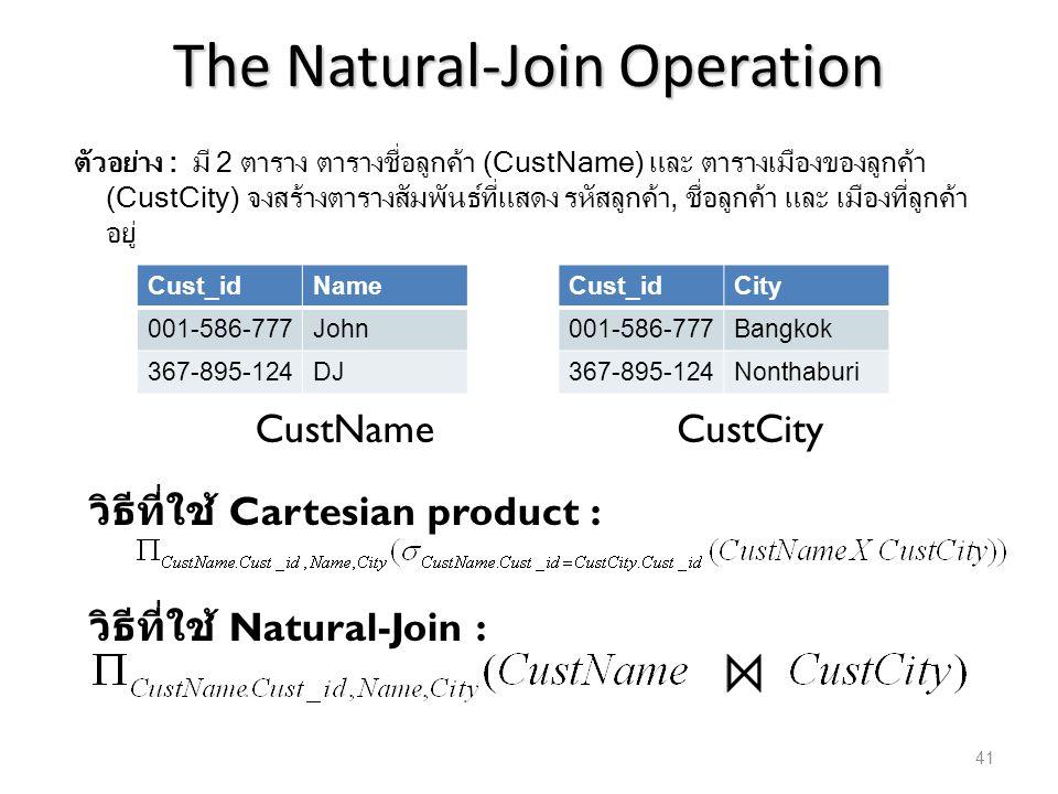The Natural-Join Operation ตัวอย่าง : มี 2 ตาราง ตารางชื่อลูกค้า (CustName) และ ตารางเมืองของลูกค้า (CustCity) จงสร้างตารางสัมพันธ์ที่แสดง รหัสลูกค้า,