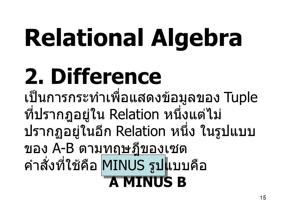 15 Relational Algebra 2. Difference เป็นการกระทำเพื่อแสดงข้อมูลของ Tuple ที่ปรากฎอยู่ใน Relation หนึ่งแต่ไม่ ปรากฏอยู่ในอีก Relation หนึ่ง ในรูปแบบ ขอ