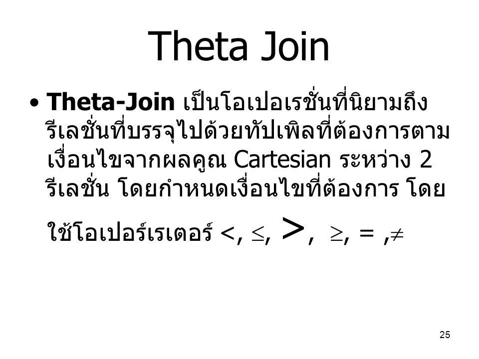 25 Theta Join Theta-Join เป็นโอเปอเรชั่นที่นิยามถึง รีเลชั่นที่บรรจุไปด้วยทัปเพิลที่ต้องการตาม เงื่อนไขจากผลคูณ Cartesian ระหว่าง 2 รีเลชั่น โดยกำหนดเ