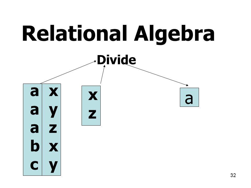 32 Relational Algebra Divide aaabcaaabc xyzxyxyzxy xzxz a