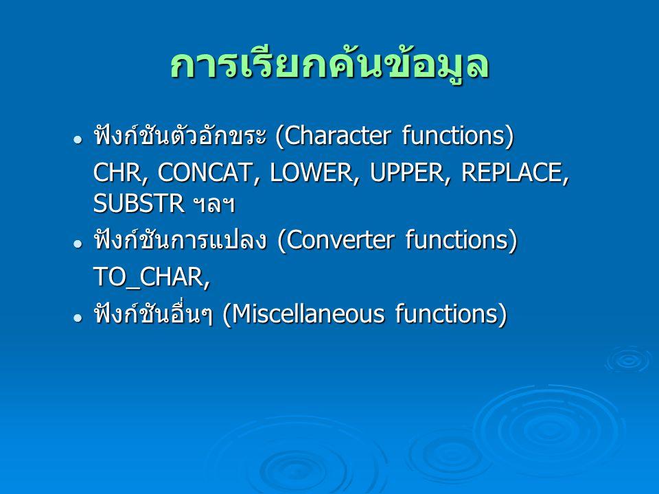 การเรียกค้นข้อมูล ฟังก์ชันตัวอักขระ (Character functions) ฟังก์ชันตัวอักขระ (Character functions) CHR, CONCAT, LOWER, UPPER, REPLACE, SUBSTR ฯลฯ ฟังก์ชันการแปลง (Converter functions) ฟังก์ชันการแปลง (Converter functions)TO_CHAR, ฟังก์ชันอื่นๆ (Miscellaneous functions) ฟังก์ชันอื่นๆ (Miscellaneous functions)