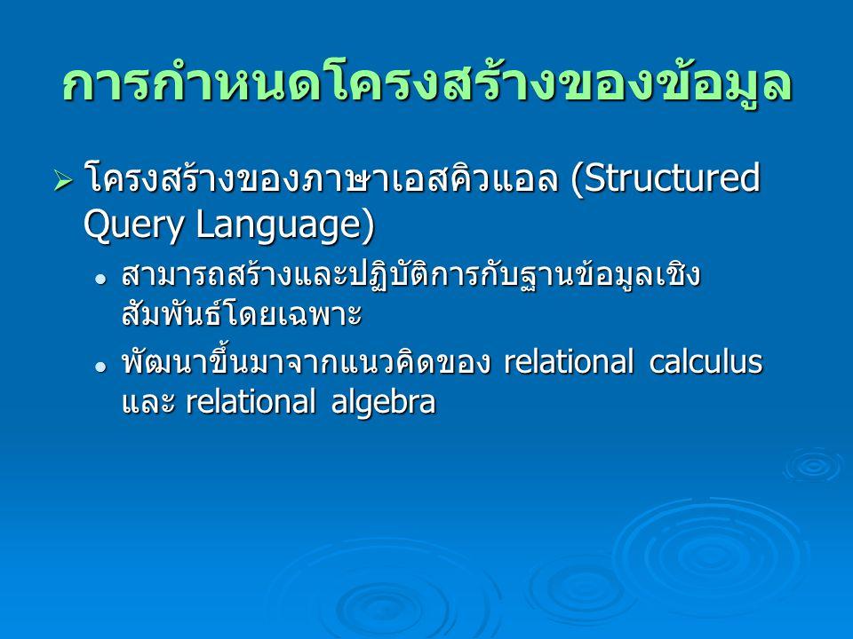 การบันทึก ปรับปรุง ลบ และการเรียกข้อมูล  โอเปอร์เรเตอร์ สามารถแยกออกเป็น 4 ประเภท ได้แก่ โอเปอเรเตอร์คณิตศาสตร์ ได้แก่ plus(+), minus(- ), divide(/), multiply(*), modula(%) โอเปอเรเตอร์คณิตศาสตร์ ได้แก่ plus(+), minus(- ), divide(/), multiply(*), modula(%) โอเปอเรเตอร์เปรียบเทียบ จะได้ค่ากลับคืนมา 3 ค่า คือ TRUE, FALSE และ UNKNOW ( ในกรณีค่าที่ เปรียบเทียบเป็น Null) โอเปอเรเตอร์เปรียบเทียบ จะได้ค่ากลับคืนมา 3 ค่า คือ TRUE, FALSE และ UNKNOW ( ในกรณีค่าที่ เปรียบเทียบเป็น Null) โอเปอเรเตอร์อักขระ ได้แก่ LIKE ใช้ร่วมกับ '%' หรือ '_' โอเปอเรเตอร์อักขระ ได้แก่ LIKE ใช้ร่วมกับ '%' หรือ '_' โอเปอเรเตอร์ตรรกะได้แก่ AND, OR, NOT, IN, BETWEEN…AND โอเปอเรเตอร์ตรรกะได้แก่ AND, OR, NOT, IN, BETWEEN…AND