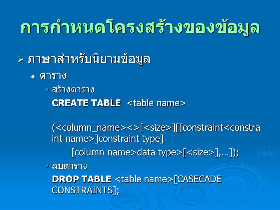 การกำหนดโครงสร้างของข้อมูล  ภาษาสำหรับนิยามข้อมูล ตาราง ตาราง สร้างตาราง สร้างตาราง CREATE TABLE CREATE TABLE ( <>[ ][[constraint ]constraint type] [column name>data type>[ ],…]); [column name>data type>[ ],…]); ลบตาราง ลบตาราง DROP TABLE [CASECADE CONSTRAINTS];