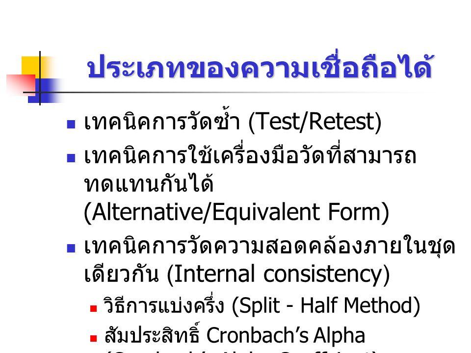ประเภทของความเชื่อถือได้ เทคนิคการวัดซ้ำ (Test/Retest) เทคนิคการใช้เครื่องมือวัดที่สามารถ ทดแทนกันได้ (Alternative/Equivalent Form) เทคนิคการวัดความสอดคล้องภายในชุด เดียวกัน (Internal consistency) วิธีการแบ่งครึ่ง (Split - Half Method) สัมประสิทธิ์ Cronbach's Alpha (Cronbach's Alpha Coeffcient)