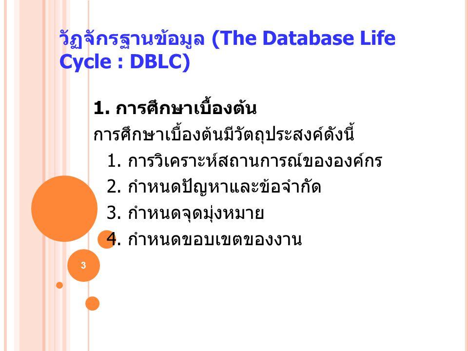 3 วัฏจักรฐานข้อมูล (The Database Life Cycle : DBLC) 1. การศึกษาเบื้องต้น การศึกษาเบื้องต้นมีวัตถุประสงค์ดังนี้ 1. การวิเคราะห์สถานการณ์ขององค์กร 2. กำ