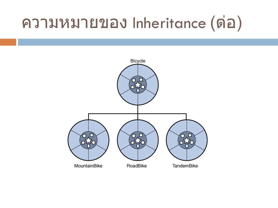 ความหมายของ Inheritance ( ต่อ )