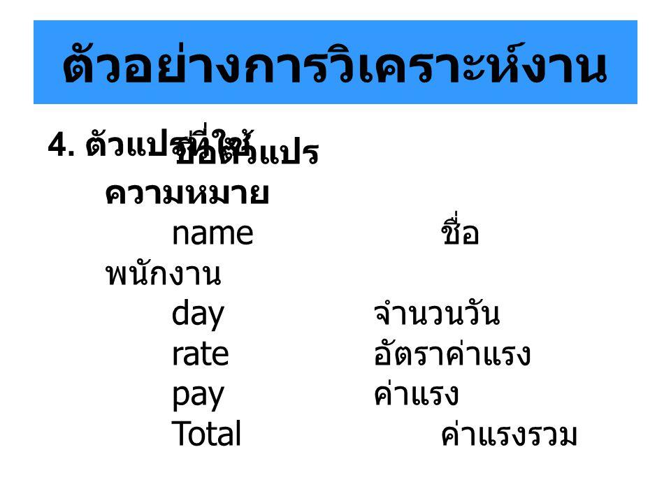 ตัวอย่างการวิเคราะห์งาน ชื่อตัวแปร ความหมาย name ชื่อ พนักงาน day จำนวนวัน rate อัตราค่าแรง pay ค่าแรง Total ค่าแรงรวม 4. ตัวแปรที่ใช้