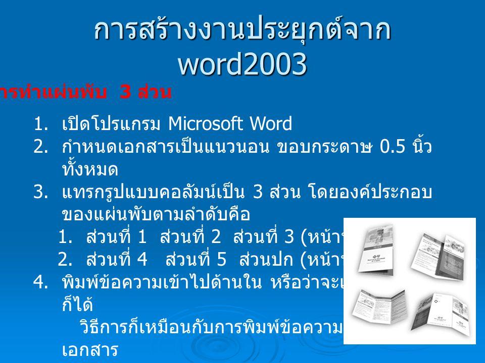 การสร้างงานประยุกต์จาก word2003 การทำแผ่นพับ 3 ส่วน 1. เปิดโปรแกรม Microsoft Word 2. กำหนดเอกสารเป็นแนวนอน ขอบกระดาษ 0.5 นิ้ว ทั้งหมด 3. แทรกรูปแบบคอล