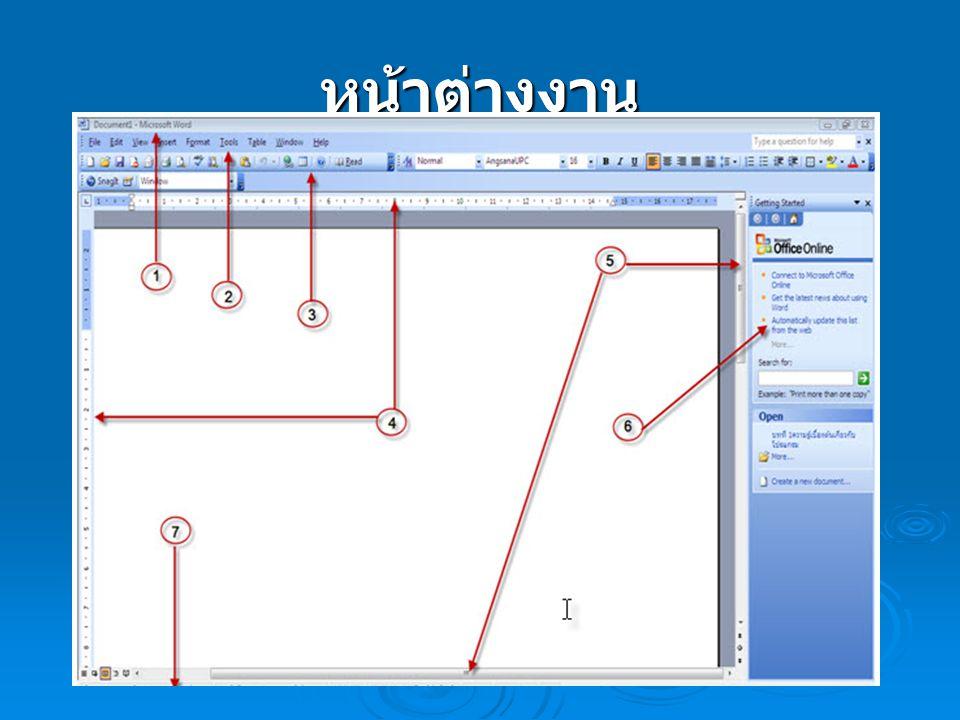 หน้าต่างงาน 1.แถบชื่อเรื่อง (Title Bar) แถบแสดงรายละเอียดและสถานการณ์การ ทำงาน 2.