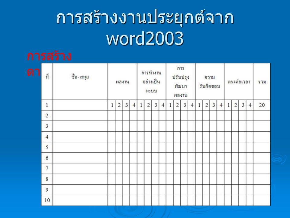การสร้างงานประยุกต์จาก word2003 การสร้าง ตาราง