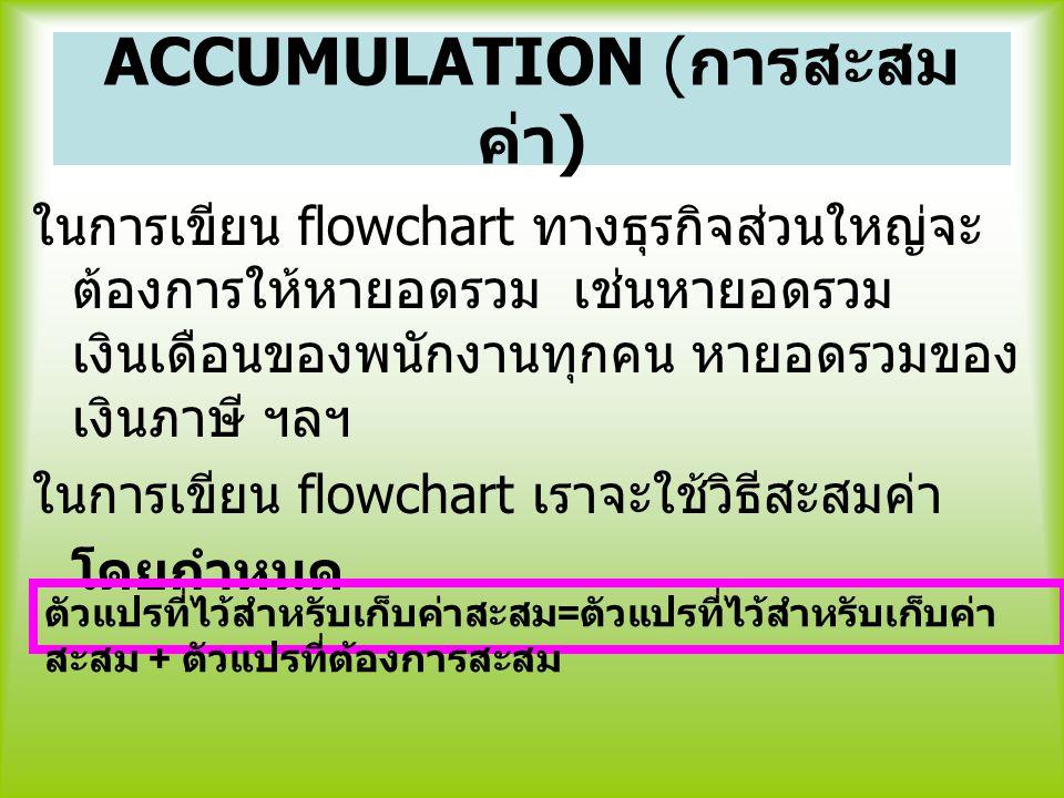 ACCUMULATION ( การสะสม ค่า ) ในการเขียน flowchart ทางธุรกิจส่วนใหญ่จะ ต้องการให้หายอดรวม เช่นหายอดรวม เงินเดือนของพนักงานทุกคน หายอดรวมของ เงินภาษี ฯล