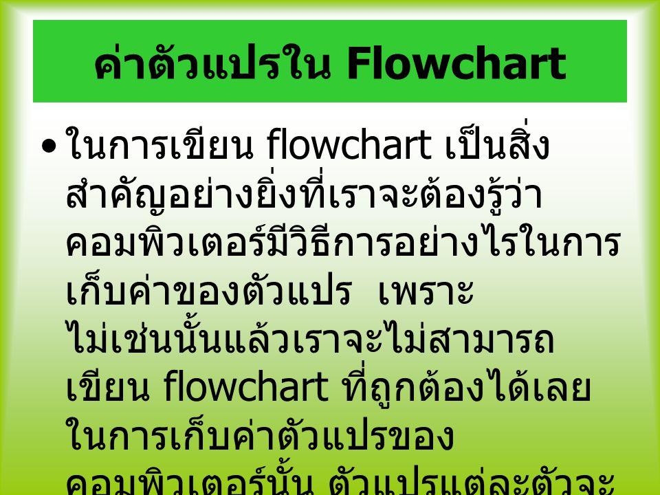 ค่าตัวแปรใน Flowchart ในการเขียน flowchart เป็นสิ่ง สำคัญอย่างยิ่งที่เราจะต้องรู้ว่า คอมพิวเตอร์มีวิธีการอย่างไรในการ เก็บค่าของตัวแปร เพราะ ไม่เช่นนั