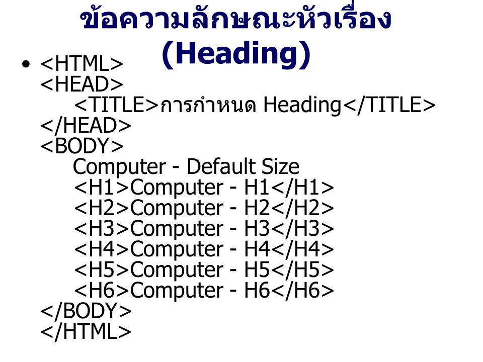 ข้อความลักษณะหัวเรื่อง (Heading) การกำหนด Heading Computer - Default Size Computer - H1 Computer - H2 Computer - H3 Computer - H4 Computer - H5 Computer - H6