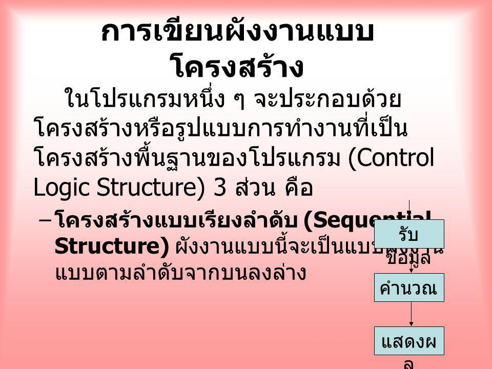 การเขียนผังงานแบบ โครงสร้าง ในโปรแกรมหนึ่ง ๆ จะประกอบด้วย โครงสร้างหรือรูปแบบการทำงานที่เป็น โครงสร้างพื้นฐานของโปรแกรม (Control Logic Structure) 3 ส่