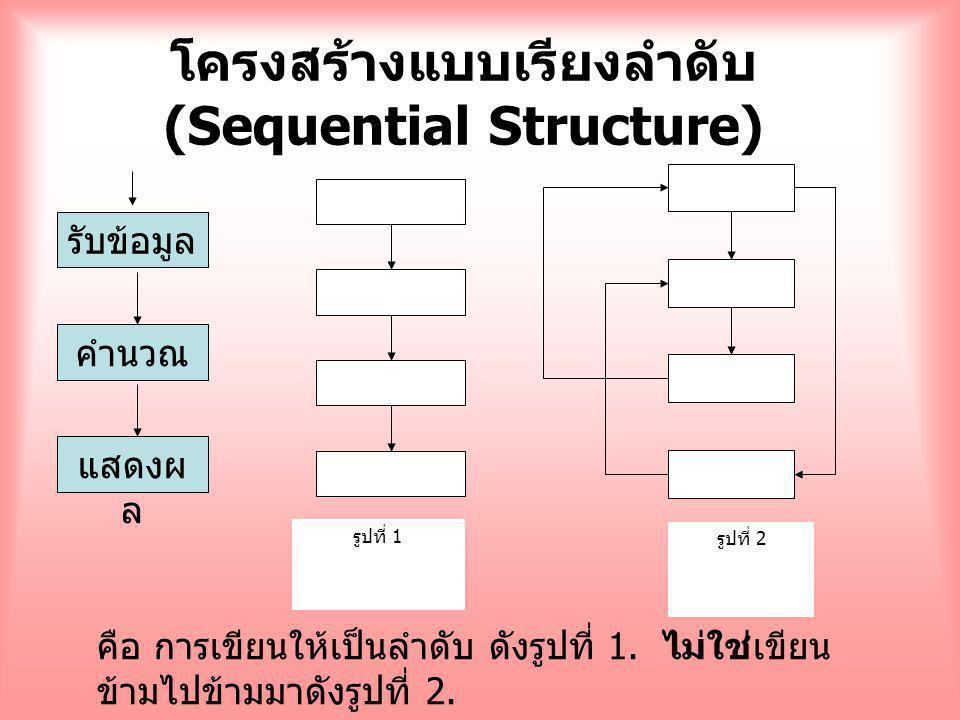 โครงสร้างแบบเรียงลำดับ (Sequential Structure) รับข้อมูล คำนวณ แสดงผ ล รูปที่ 2 รูปที่ 1 คือ การเขียนให้เป็นลำดับ ดังรูปที่ 1. ไม่ใช่เขียน ข้ามไปข้ามมา