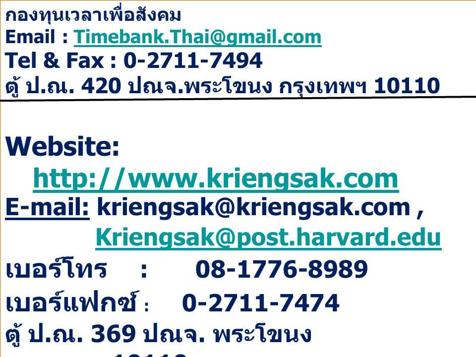 Page 18 กองทุนเวลาเพื่อสังคม Email : Timebank.Thai@gmail.comTimebank.Thai@gmail.com Tel & Fax : 0-2711-7494 ตู้ ป. ณ. 420 ปณจ. พระโขนง กรุงเทพฯ 10110