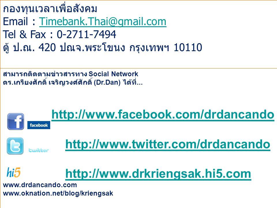 Page 19 สามารถติดตามข่าวสารทาง Social Network ดร. เกรียงศักดิ์ เจริญวงศ์ศักดิ์ (Dr.Dan) ได้ที่... http://www.facebook.com/drdancando http://www.twitte