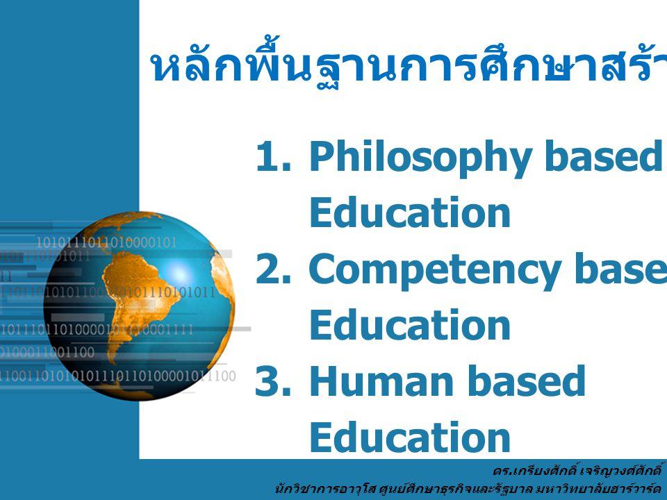 Page 4 หลักพื้นฐานการศึกษาสร้างคน 9 ประการ 1. Philosophy based Education 2. Competency based Education 3. Human based Education 4. Economic based Educ