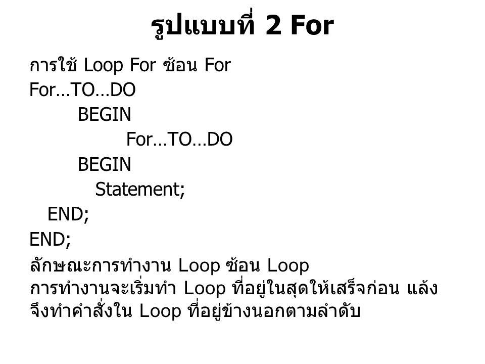รูปแบบที่ 2 For การใช้ Loop For ซ้อน For For…TO…DO BEGIN For…TO…DO BEGIN Statement; END; ลักษณะการทำงาน Loop ซ้อน Loop การทำงานจะเริ่มทำ Loop ที่อยู่ในสุดให้เสร็จก่อน แล้ง จึงทำคำสั่งใน Loop ที่อยู่ข้างนอกตามลำดับ
