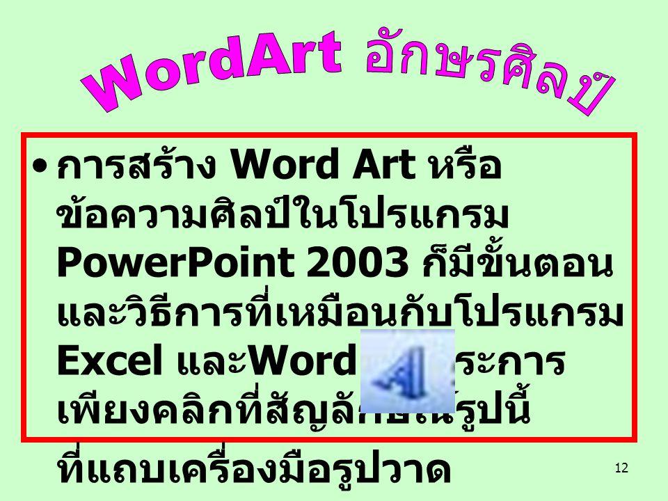 12 การสร้าง Word Art หรือ ข้อความศิลป์ในโปรแกรม PowerPoint 2003 ก็มีขั้นตอน และวิธีการที่เหมือนกับโปรแกรม Excel และ Word ทุกประการ เพียงคลิกที่สัญลักษณ์รูปนี้ ที่แถบเครื่องมือรูปวาด