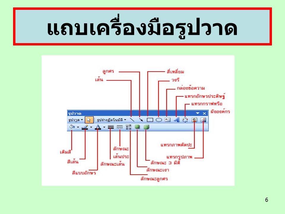 7 ( รูปวาด ) เป็นเมนูคำสั่งที่เกี่ยวข้องกับรูปภาพ ( เลือกวัตถุ ) เลือกออบเจ็คหรือระบุขอบเขตเพื่อ เลือกทุกออบเจ็คที่อยู่ในขอบเขตนั้น ( รูปร่างอัติโนมัติ ) เป็นเมนูที่มีรูปต้นแบบเพื่อช่วย สร้างภาพได้ง่ายขึ้น ( เส้น ) ขีดเส้นตรงทั้งในแนวตั้งหรือแนวนอน ปรือ ทำมุม ( ลูกศร ) ขีดเส้นตรงในแนวตั้งและแนวนอน หรือ ทำมุมพร้อมหัวลูกศร ( สี่เหลี่ยม ) เขียนรูปสี่เหลี่ยม ( วงรี ) วาดรูปวงกลมหรือวงรี แถบเครื่องมือรูปวาด