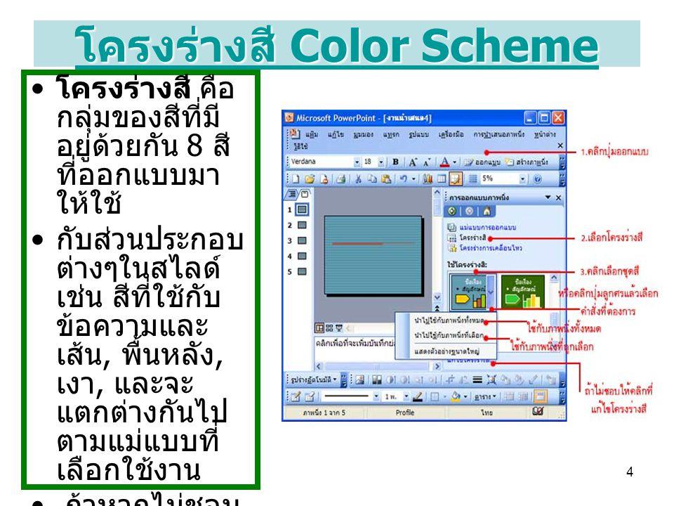 4 โครงร่างสี Color Scheme โครงร่างสี Color Scheme โครงร่างสี คือ กลุ่มของสีที่มี อยู่ด้วยกัน 8 สี ที่ออกแบบมา ให้ใช้ กับส่วนประกอบ ต่างๆในสไลด์ เช่น ส