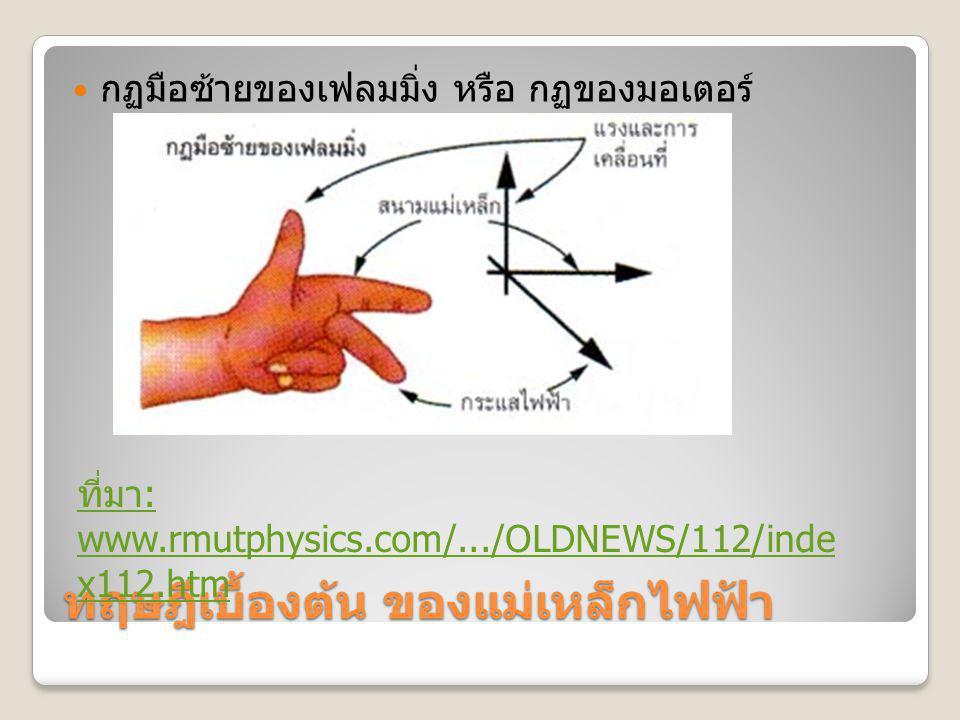 ทฤษฎีเบื้องต้น ของแม่เหล็กไฟฟ้า กฏมือซ้ายของเฟลมมิ่ง หรือ กฏของมอเตอร์ ที่มา : www.rmutphysics.com/.../OLDNEWS/112/inde x112.htm