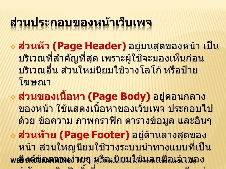 WEB PROGRAMMING WEB PROGRAMMING:: Mr.Parinya Noidonphrai (www.freebsd.sru.ac.th)  ส่วนหัว (Page Header) อยู่บนสุดของหน้า เป็น บริเวณที่สำคัญที่สุด เพ