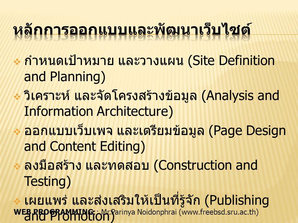 WEB PROGRAMMING WEB PROGRAMMING:: Mr.Parinya Noidonphrai (www.freebsd.sru.ac.th)  กำหนดเป้าหมาย และวางแผน (Site Definition and Planning)  วิเคราะห์
