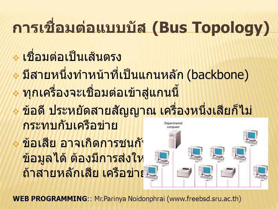 WEB PROGRAMMING WEB PROGRAMMING:: Mr.Parinya Noidonphrai (www.freebsd.sru.ac.th) การเชื่อมต่อแบบบัส (Bus Topology)  เชื่อมต่อเป็นเส้นตรง  มีสายหนึ่ง