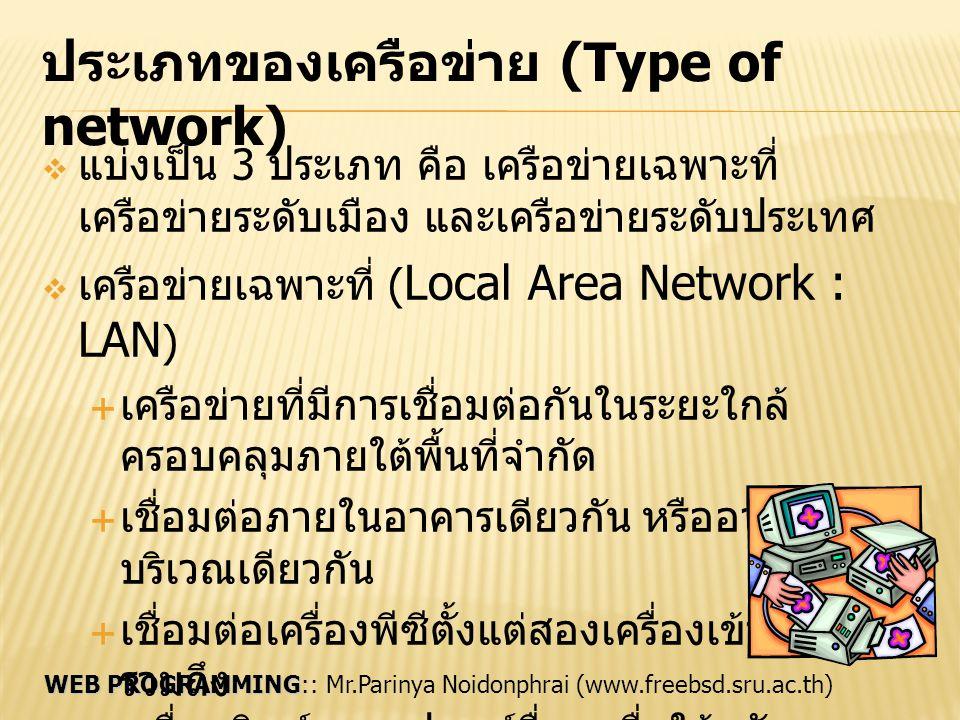 WEB PROGRAMMING WEB PROGRAMMING:: Mr.Parinya Noidonphrai (www.freebsd.sru.ac.th) ประเภทของเครือข่าย (Type of network) ต่อ  เครือข่ายระดับเมือง (Metropolitan Area Network : MAN)  เชื่อมต่อเครือข่าย LAN เข้าไว้ด้วยกัน  ครอบคลุมพื้นที่กว้าง ระดับเมืองหรือจังหวัด  มีแบคโบน (Backbone) ทำหน้าที่เป็นสายหลัก ในการเชื่อมเครือข่าย  เครือข่ายระดับประเทศ (Wide Area Network : WAN)  เชื่อมต่อเครือข่ายต่างๆ เข้าด้วยกัน  ครอบคลุมระดับประเทศหรือข้ามทวีป  ติดต่อผ่านช่องทางสื่อสารระยะไกล เช่น สายโทรศัพท์ เคเบิล ดาวเทียม