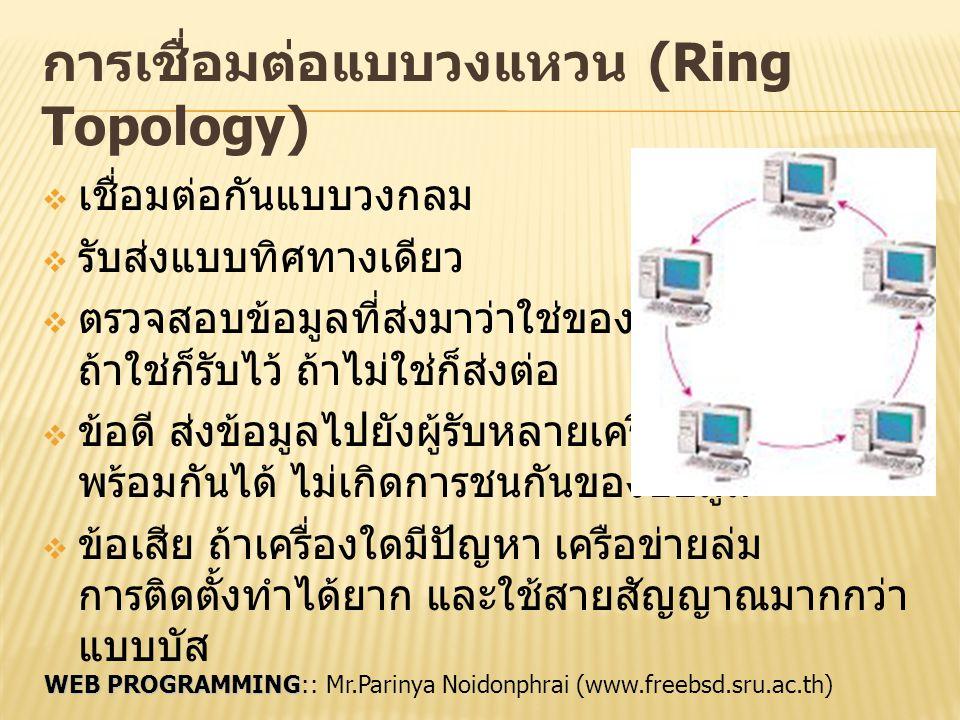 WEB PROGRAMMING WEB PROGRAMMING:: Mr.Parinya Noidonphrai (www.freebsd.sru.ac.th) การเชื่อมต่อแบบบัส (Bus Topology)  เชื่อมต่อเป็นเส้นตรง  มีสายหนึ่งทำหน้าที่เป็นแกนหลัก (backbone)  ทุกเครื่องจะเชื่อมต่อเข้าสู่แกนนี้  ข้อดี ประหยัดสายสัญญาณ เครื่องหนึ่งเสียก็ไม่ กระทบกับเครือข่าย  ข้อเสีย อาจเกิดการชนกันของ ข้อมูลได้ ต้องมีการส่งใหม่ ถ้าสายหลักเสีย เครือข่ายล่ม