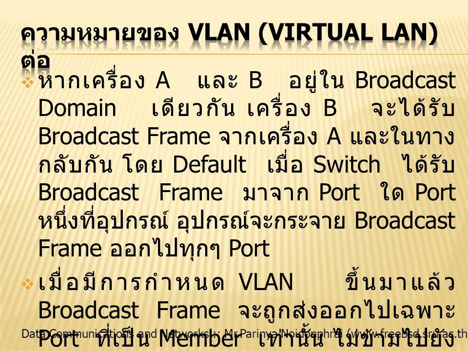 Data Communications and Networks :: Mr.Parinya Noidonphrai (www.freebsd.sru.ac.th)  หากเครื่อง A และ B อยู่ใน Broadcast Domain เดียวกัน เครื่อง B จะไ